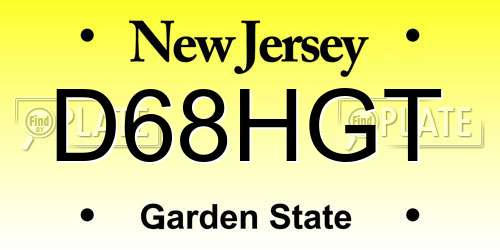 D68HGT New Jersey License Plate