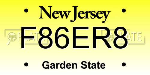 F86ER8 New Jersey License Plate
