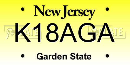 K18AGA New Jersey License Plate