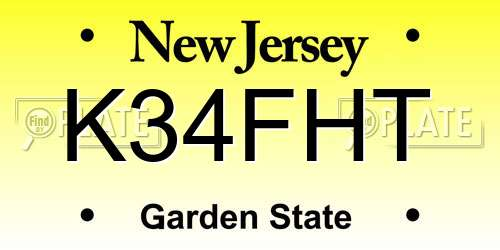 K34FHT New Jersey License Plate