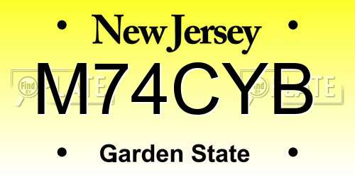 M74CYB New Jersey License Plate