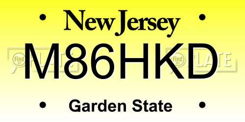 M86HKD New Jersey License Plate