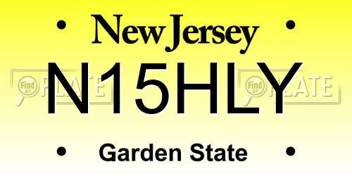 N15HLY New Jersey License Plate