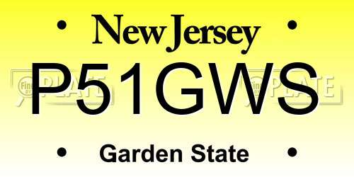 P51GWS license plate in NJ state