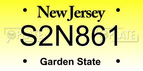 S2N861 New Jersey License Plate