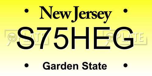 S75HEG New Jersey License Plate