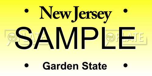 Sample New Jersey License Plate