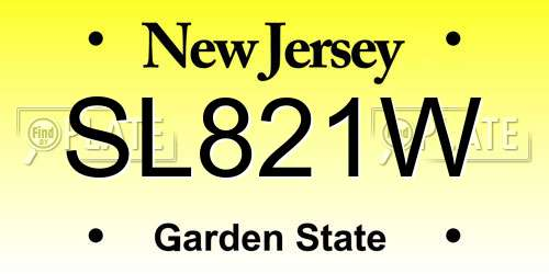 SL821W New Jersey License Plate