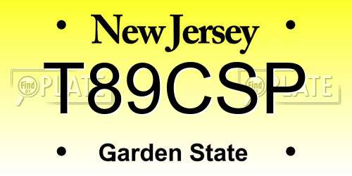 T89CSP New Jersey License Plate