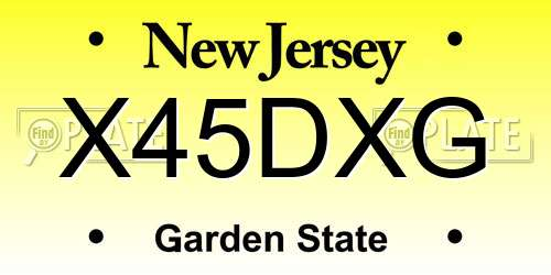 X45DXG New Jersey License Plate
