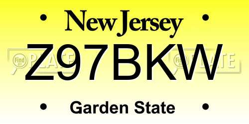 Z97BKW New Jersey License Plate