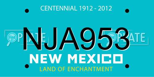 NJA953 New Mexico License Plate