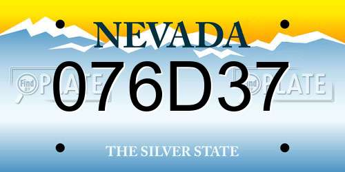 076D37 Nevada License Plate