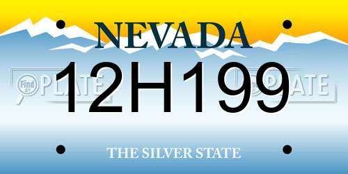 12H199 Nevada License Plate