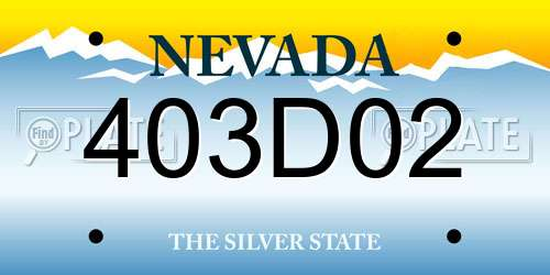 403D02 Nevada License Plate
