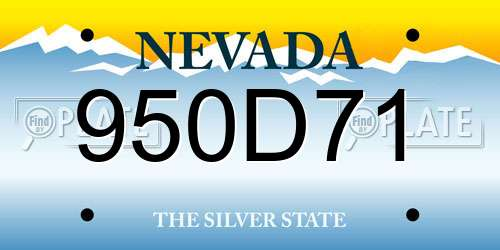 950D71 Nevada License Plate