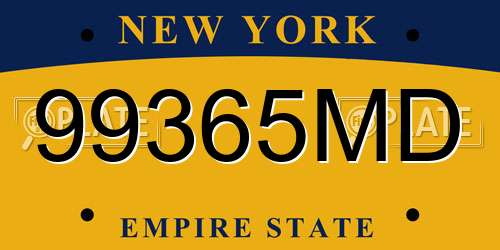 99365MD New York License Plate
