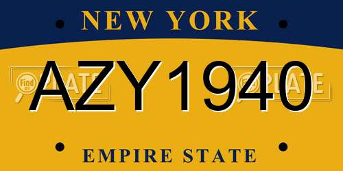 AZY1940 license plate in NY state