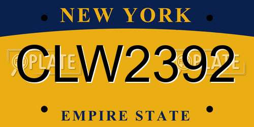 CLW2392 New York License Plate