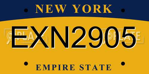 EXN2905 New York License Plate