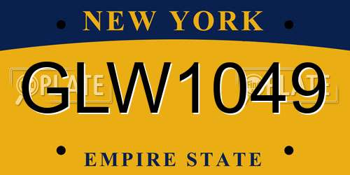 GLW1049 New York License Plate