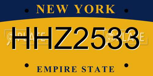 HHZ2533 license plate in NY state