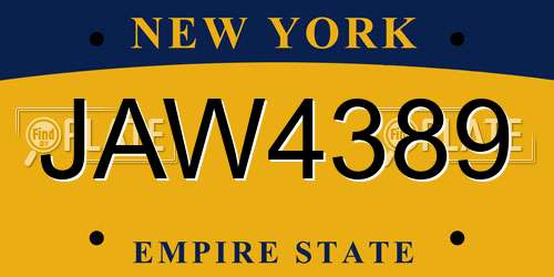 JAW4389 New York License Plate