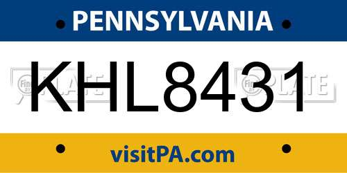 KHL8431 license plate in PA state