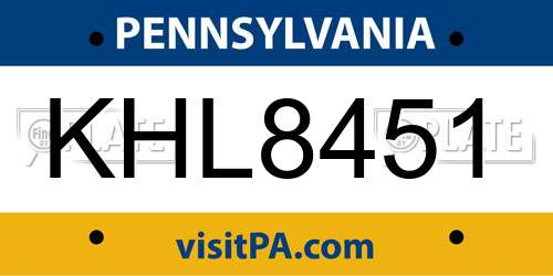 KHL8451 license plate in PA state