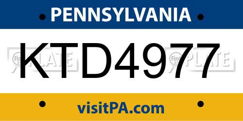 KTD4977 Pennsylvania License Plate