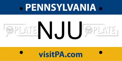 NJU Pennsylvania License Plate