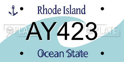 AY423 license plate in RI state