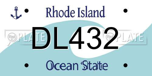 DL432 license plate in RI state