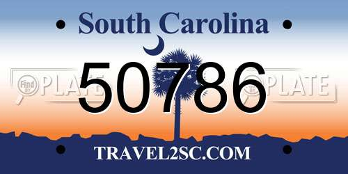 50786 South Carolina License Plate