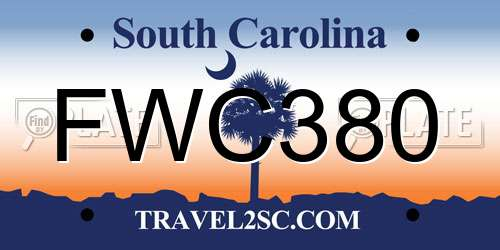 FWC380 South Carolina License Plate
