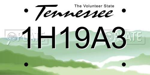 1H19A3 Tennessee License Plate