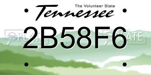 2B58F6 Tennessee License Plate