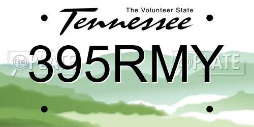 395RMY Tennessee License Plate