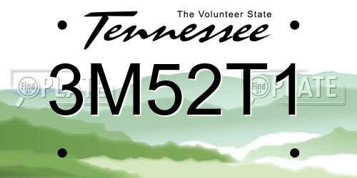 3M52T1 Tennessee License Plate