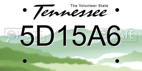 5D15A6 Tennessee License Plate