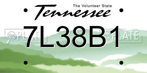 7L38B1 Tennessee License Plate
