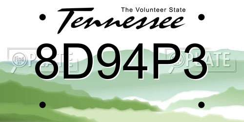 8D94P3 Tennessee License Plate