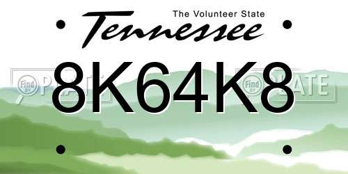 8K64K8 Tennessee License Plate