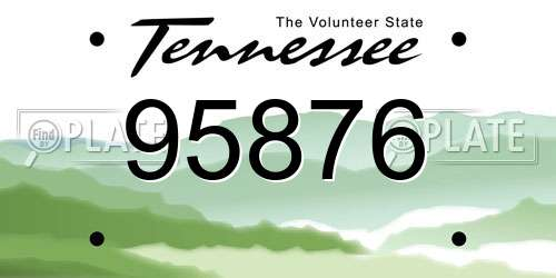95876 Tennessee License Plate