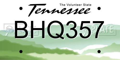 BHQ357 Tennessee License Plate