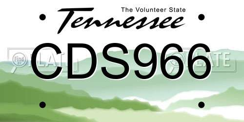 CDS966 Tennessee License Plate