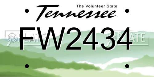 FW2434 Tennessee License Plate