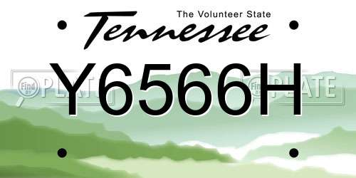 Y6566H Tennessee License Plate