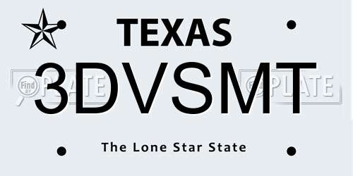 3DVSMT Texas License Plate