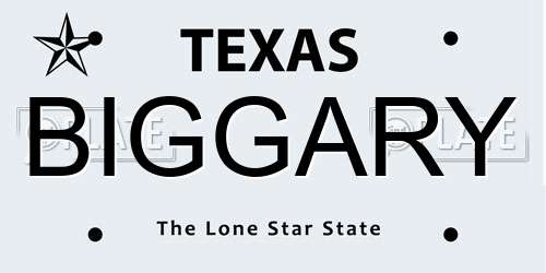 BIGGARY license plate in TX state